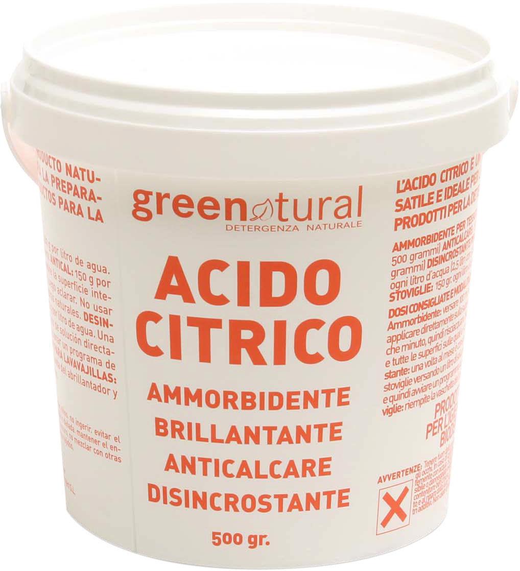 ACIDO CITRICO,GREENATURAL  500GR  ammorbidente, brillantante, anticalcare