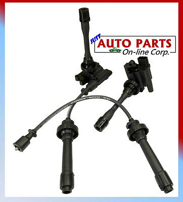 2 IGNITION COILS + Spark Plug Wires set LANCER L4 2.0L 2.4L ECLIPSE 00-08 2.4L