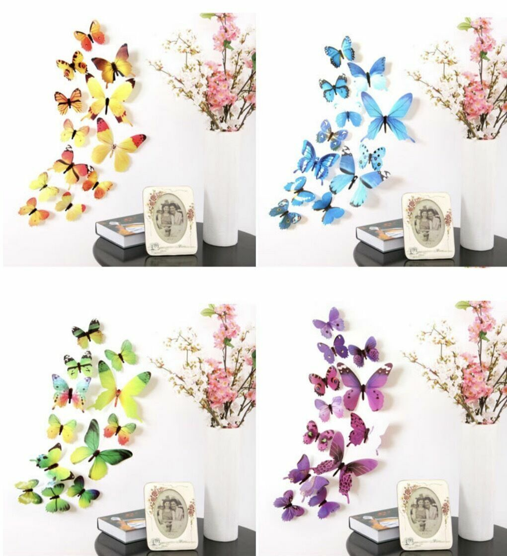 Home Decoration - 12 pcs 3D Butterfly Wall Stickers Art Decal Home Room Decorations Decor Kids