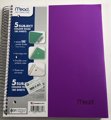 Mead College Ruled 5-subject 180 Sheets Notebook Divider Varying Colors. New