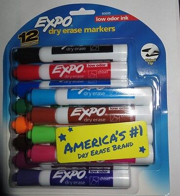 12 Expo Low Odor Chisel Tip Dry Erase Markers Colored 80699 Felt Tips Pens New