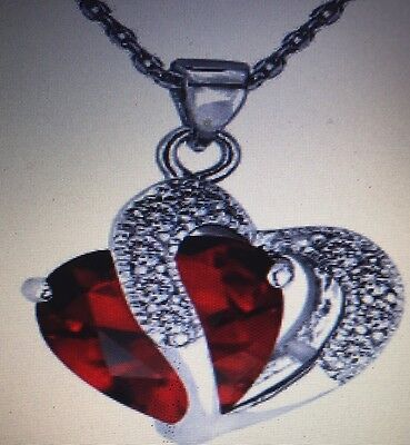1PC 925 Sterling Silver Plated Red Crystal Gemstone Heart Pendant Necklace