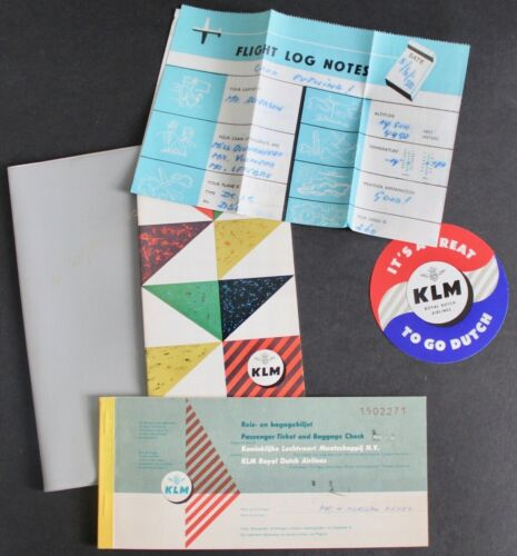 1958 KLM ROYAL DUTCH AIRLINES  BOARDING PASS, TICKET FOLDER, STICKER + 5 ITEMS