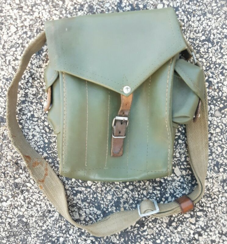 Vtg. Hungarian Army Military 5-Cell Ammo Magazine Pouch Bag