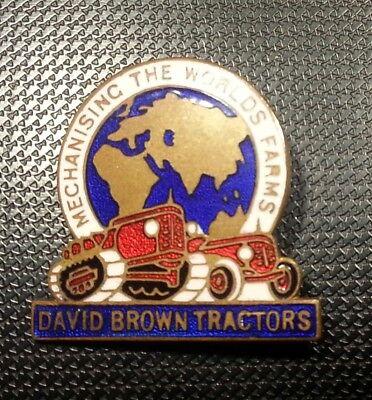David Brown Brosche emailliert Traktoren 27x27mm gestempelt Fattorini & Sons