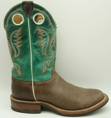 - Justin Green Brown Leather Roper Cowboy Western Boots Mens 8.5 D