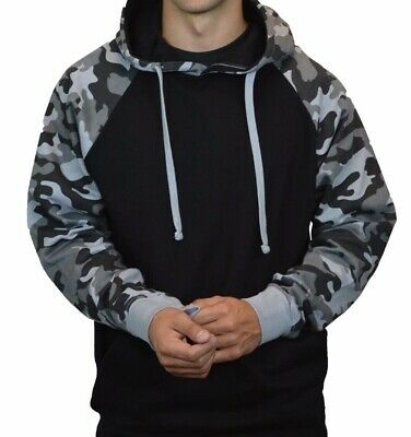 Men Gray Black Camo Pullover Plain Hoodie / Hooded Sweatshirt Army Active
