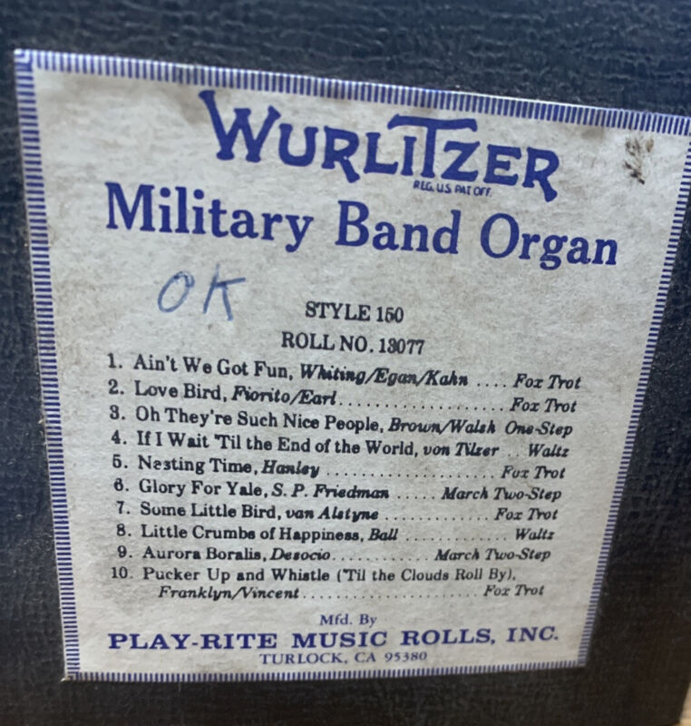 Wurlitzer Military Band Organ Roll, Style 150, No. 13134