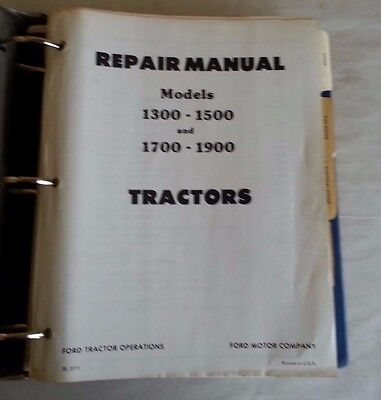 Ford 1300-1500 1700-1900 Tractor Repair Manual With Supplement  Se 3771