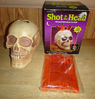 Shot In The Head Skull & Test Tube Shots Set HALLOWEEN PARTY DRINK SET