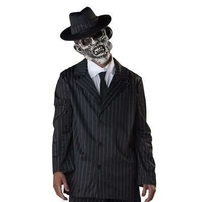 Zombie Gangster Adult Pinstripe Mobster Costume XL Jacket, Mask, Hat #5461
