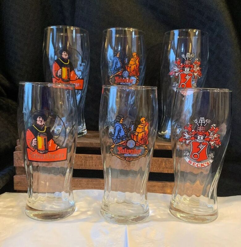 Lot Of 6 Germany Beer Glasses. 2 Schultheiss,  2 Salvator, 2 Becks. 6 Total.