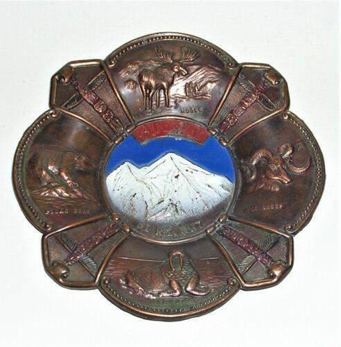 """Vintage Stamped Copper Alaska, Mt. McKinley Souvenir Plaque 5 5/8"""" Made in Japan"""