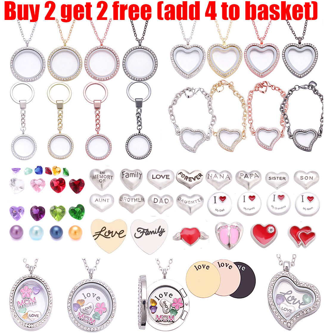 Living Memory Floating Family Charms Locket Pendant Necklace Bracelet Keychain