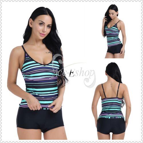 6841e29e590 M-3XL Women Striped Sport Swimwear Set Beach Bathing Suit Tankini Top Short  SurfUSD 12.99