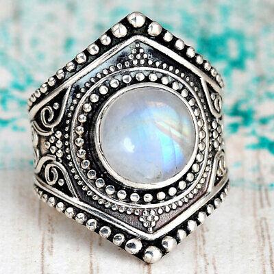 Boho Sterling Silver Moonstone Ring for Women Gemstone Stone Handmade size 7 8 9