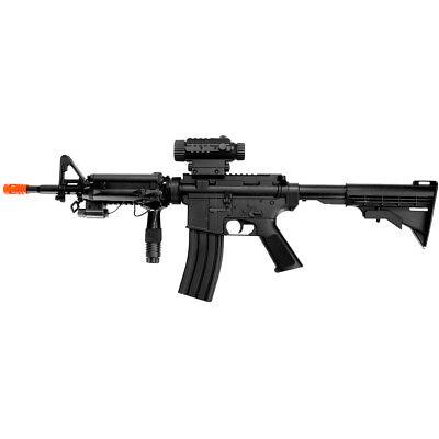 M4 A1 M16 ELECTRIC AUTOMATIC AIRSOFT GUN RIFLE AEG + FLASHLIGHT LASER 6mm BB BBs