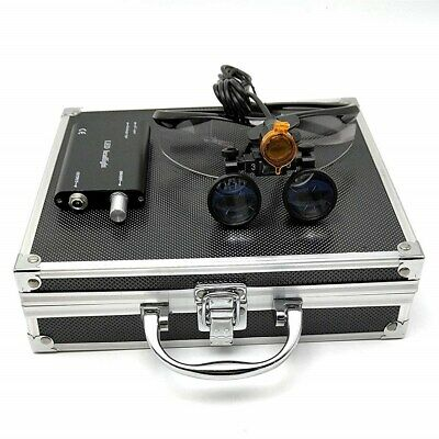 Dental 3.5x Binocular Loupes 3w Led Head Light W Filter Aluminum Box Black