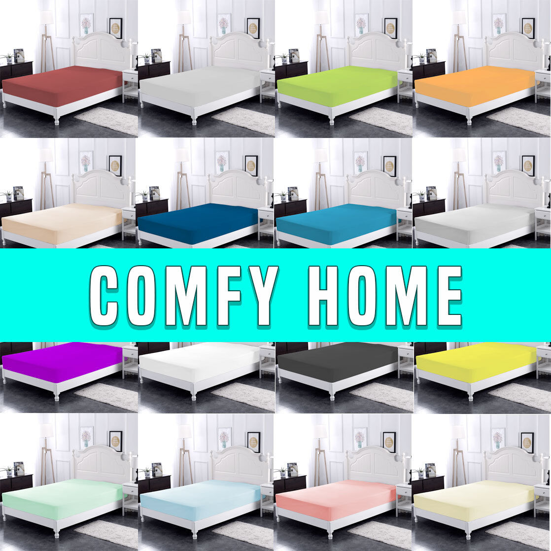 Comfy Home 100% Cotton Solid Color Fitted Sheet  All Seasons