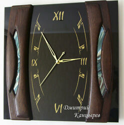 Wall clock black with blue rectangular square glass wood luxury stylish design