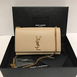 YSL Medium Kate Chain Bag in Nude