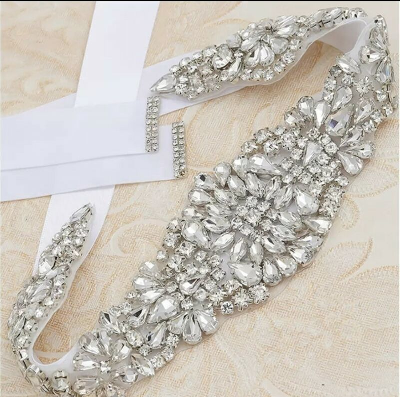 Bridal/Wedding Bridesmaid Rhinestone Bling Crystal Belt Sash Dress White Ribbon