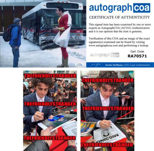 "JACK DYLAN GRAZER signed Autographed ""SHAZAM"" 8X10 PHOTO c PROOF Freddy ACOA COA"