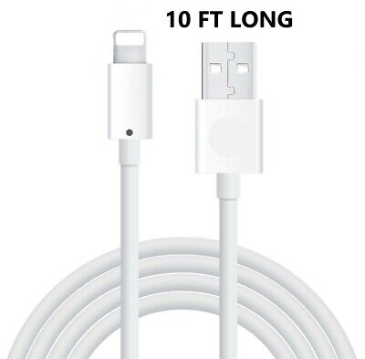 10FT Long USB Cable For Apple iPhone 5 6 7 8 Plus X Xs Max Xr Lightning Charger