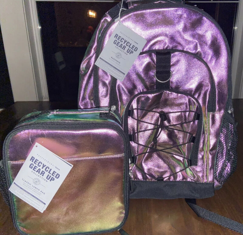 NWT Pottery Barn Teen Gear-Up Chameleon Color Shift Recycled Backpack, Lunchbox
