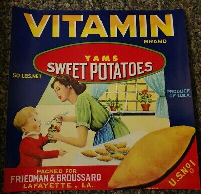 Vitamin Yam CRATE LABEL Lafayette, LOUISIANA  1940's Walle & Co. New Orleans