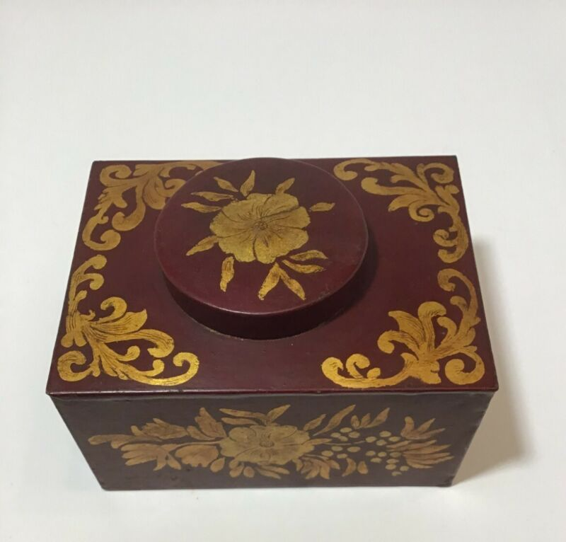 Early Tea Tin, Dark Red, Gold Floral Tole Painted Designs, Signed & Dated