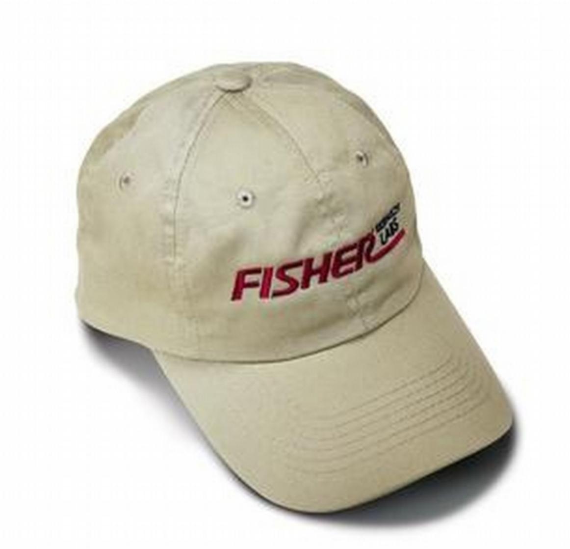 Fisher RED Logo Metal Detector Baseball Cap with Fastener Strap Closure