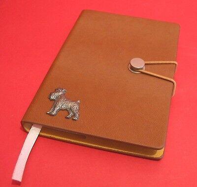 Miniature Schnauzer Motif A6 Tan Journal Notebook Father Mothers Christmas Gift
