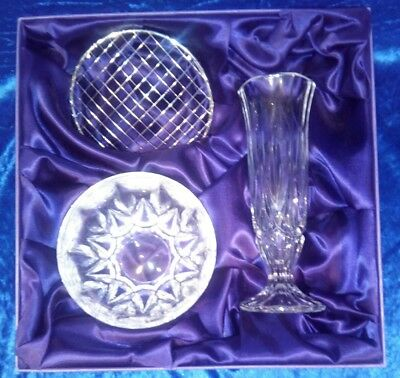 """RCR Crystal Occasions """"Flowers"""" Box Set, Rose Bowl and 17cm Vase"""