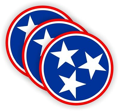 3x Tennessee Stars Hard Hat Stickers Motorcycle Welding Helmet Decals Star Usa