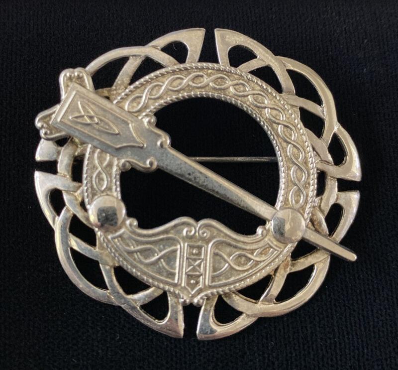 SCARCE MICHAEL GOLDSTONE STERLING SILVER CELTIC IRELAND KILT PIN BROOCH PENDANT