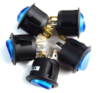 Switch Round 3 Prong Blue Led Rocker Switch Spst Toggle Switch 5 Pack Ec-1217