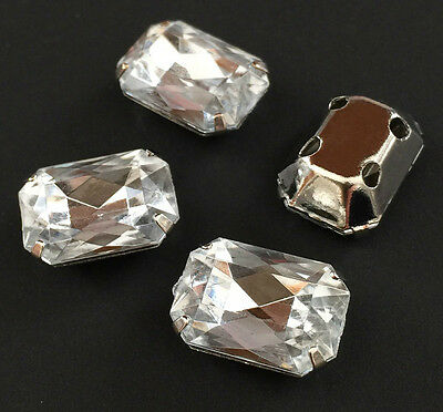 20pc 8mmX10mm Faceted Rectangle Sew On Clear Rhinestone Montee W/Metal Prong