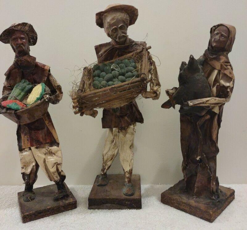 Vintage paper mache Mexican folk art figures