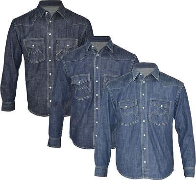 Denim Long Sleeve Work Shirt (New Mens Classic Denim Western Shirt Long Sleeve Work Heavy M-XXL)