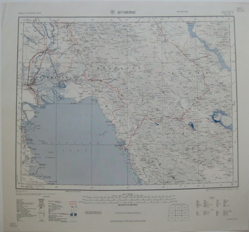 1957 US Army Map BUSHEHR Iran Persian Gulf Abadan Shiraz Kuwait Ahvaz Behbahan