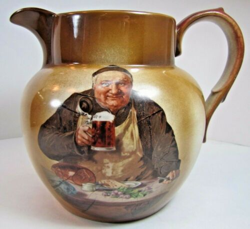 Old Monk Drinking Beer Big Porcelain Round Belly Pitcher Beer Meat Bread Table