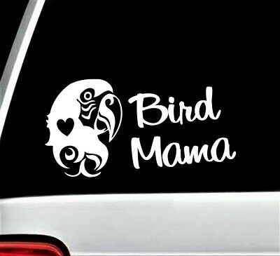 Bird Mama Parrot Decal Sticker for Car Window BG 309 Macaw Canary Crazy Lady