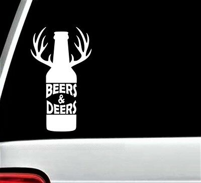 Beer Deer Antlers Longneck Bottle Decal Sticker for Car Window 7.0 Inch BG 261 (Deer Antlers For Cars)