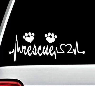 Animal Rescue Heartbeat Lifeline Dog Cat Decal Sticker for Car Window BG 117 Pet