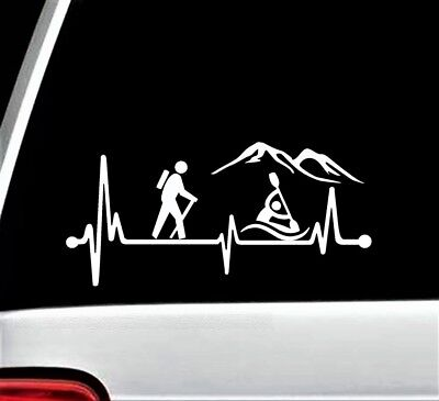 Home Decorators Tables Hiking Kayak Heartbeat Lifeline Decal Sticker For Car Window 8 Inch BG 287 Hiker Cottage Chic Home Decor
