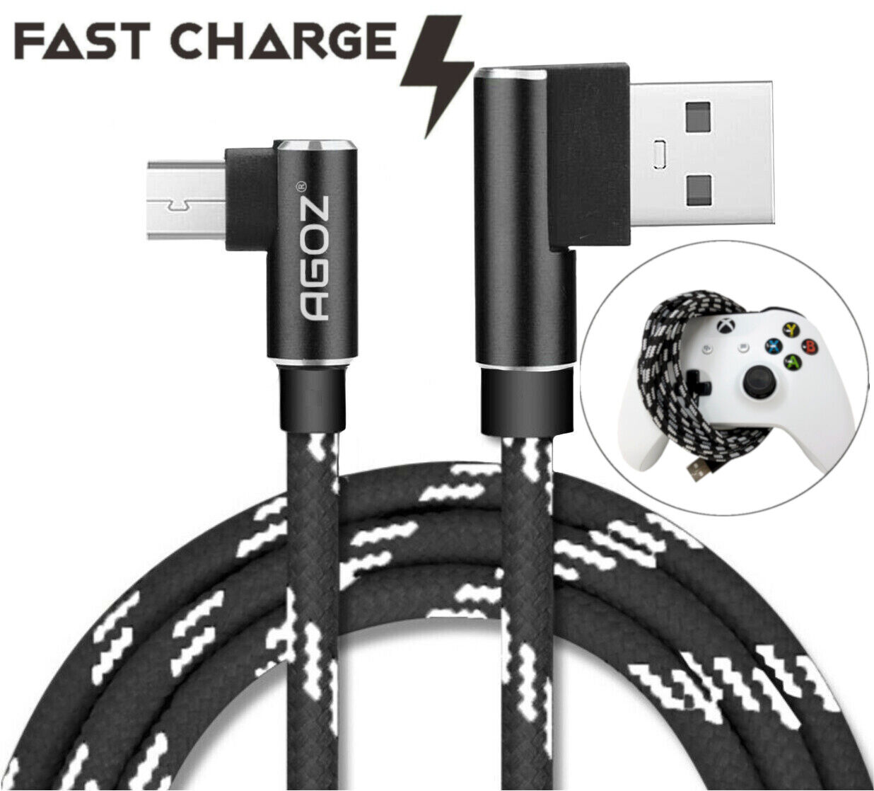 L Shape 90 Degree 4,6,10ft Micro USB Cable For Xbox One, One X, One S Controller - $5.98
