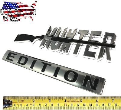 HUNTER EDITION Emblem Tailgate white / GMC car TRUCK logo DECAL SIGN Door Badge