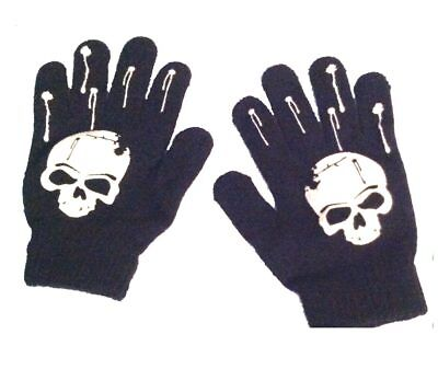 Gothic Stretch Winter Unisex BLACK SKULL GLOVES Punk Pirate Biker-Kids Teen Size - Biker Gloves Halloween