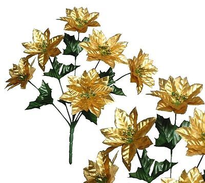Lot of 24 Gold Poinsettia Bushes Christmas Decoration Artificial Flower Home